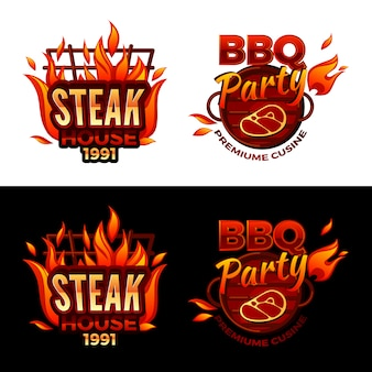Steak house illustration for barbecue party logo or premium meat cuisine