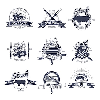 Steak house label set
