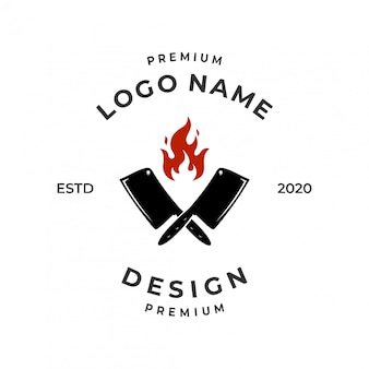Steak house logo concept with flame and knife element.