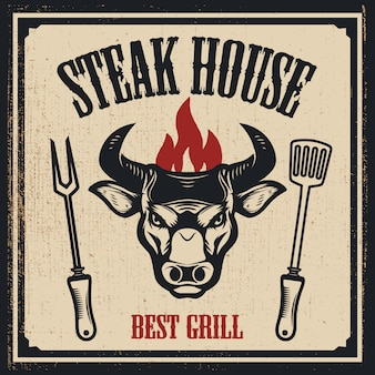 Steak house  template. bull head with fire.  elements for logo, label, emblem, sign.  illustration