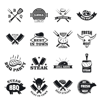 Steak logo grilled beef icons set