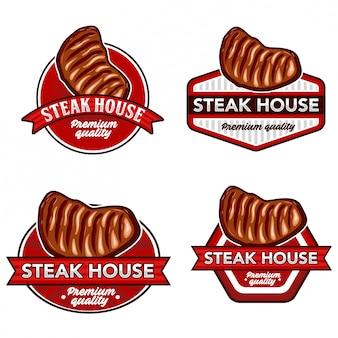 Steak logo stock vector set