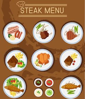 Стейк-меню с различными видами мяса