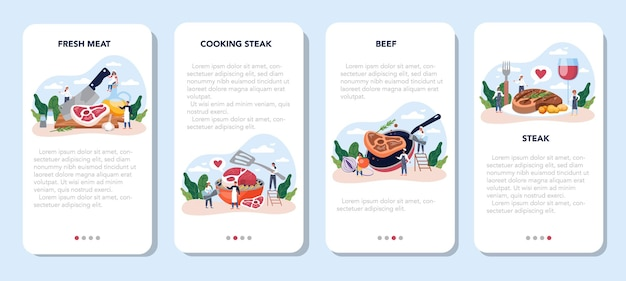 스테이크 모바일 응용 프로그램 배너 세트. 접시에 맛있는 구운 고기를 요리하는 사람들. 맛있는 바베큐 쇠고기. 구운 레스토랑 식사.