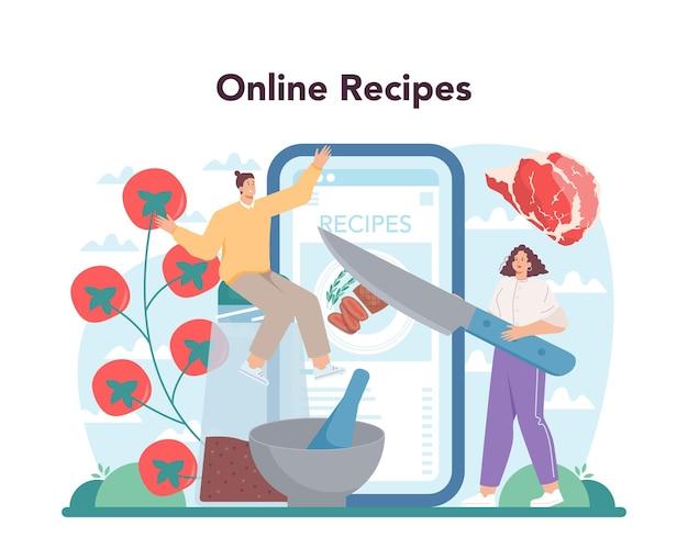 스테이크 온라인 서비스 또는 플랫폼. 접시에 맛있는 구운 고기를 요리하는 사람들. 맛있는 바베큐 로스트 비프. 온라인 조리법. 평면 벡터 일러스트 레이 션