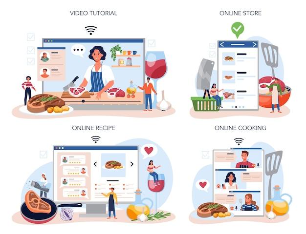 ステーキオンラインサービスまたはプラットフォームセット。おいしい焼き肉を皿で焼く人。美味しいバーベキュービーフ。オンライン料理、店、レシピ、ビデオチュートリアル。