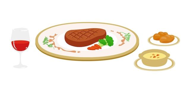 Тарелка стейка. векторная иллюстрация, которую легко редактировать.
