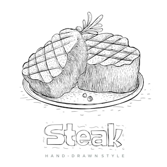 Steak on ready plate in hand drawn