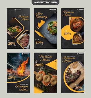 Steak restaurant flyer template or instagram history banner