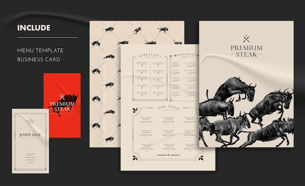 Steak restaurant menu and business card template
