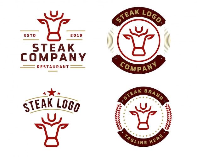 Шаблон логотипа стейк-магазина