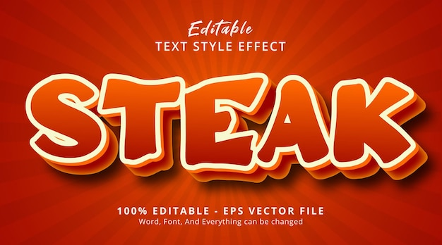 Steak text on appetizing color style effect, editable text effect