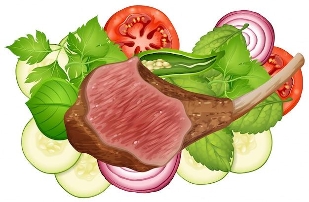 Steak and vegetables on white background