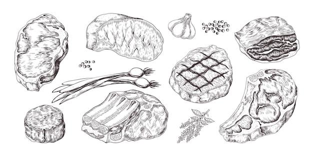 Стейк. старинный эскиз с ребрами и филе говядины и свинины, мясных продуктов с чесноком и перцем. ручной обращается филе мясо с луком, чесноком, перцем