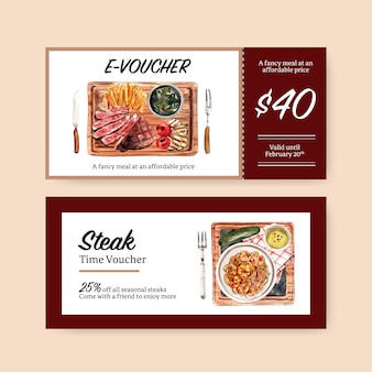 Steak voucher design with french fries, steak watercolor illustration.