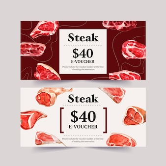 Steak voucher design with various types of meat watercolor illustration.