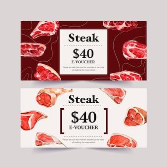 さまざまな種類の肉水彩イラストとステーキのクーポンデザイン。