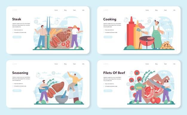 스테이크 웹 배너 또는 방문 페이지 세트입니다. 접시에 맛있는 구운 고기를 요리하는 사람들. 맛있는 바베큐 쇠고기. 구운 식당 식사. 만화 스타일의 고립 된 벡터 일러스트 레이 션