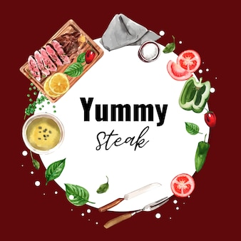 Steak wreath design with bell pepper, steak, basil watercolor illustration