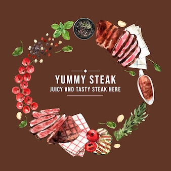 Steak wreath design with tomato, grilled meat watercolor illustration