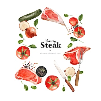 Steak wreath design with vegetable, fresh meat watercolor illustration