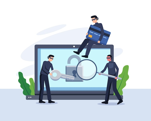 Steal data concept illustration. criminal and thief hacking computer and stealing data and money. vector in a flat style