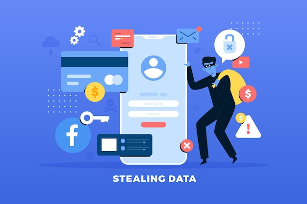 Steal data concept with thief