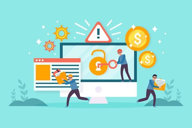 泥棒とコンピューターでデータの概念を盗む