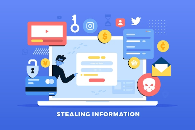 Steal data concept with thieves and laptop