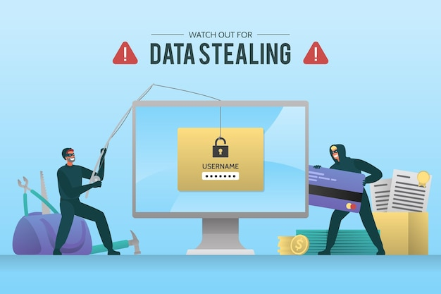 Steal data cyber attack concept