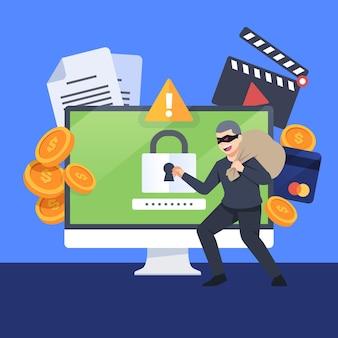 데이터 사이버 공격 개념 도용