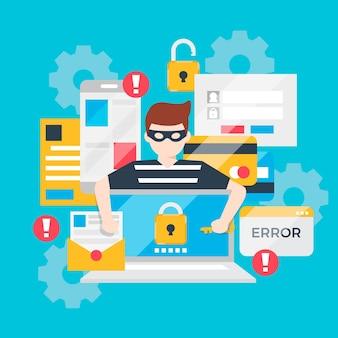 Ruba il concetto di attacco informatico ai dati