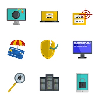 Steal information icons set, cartoon style