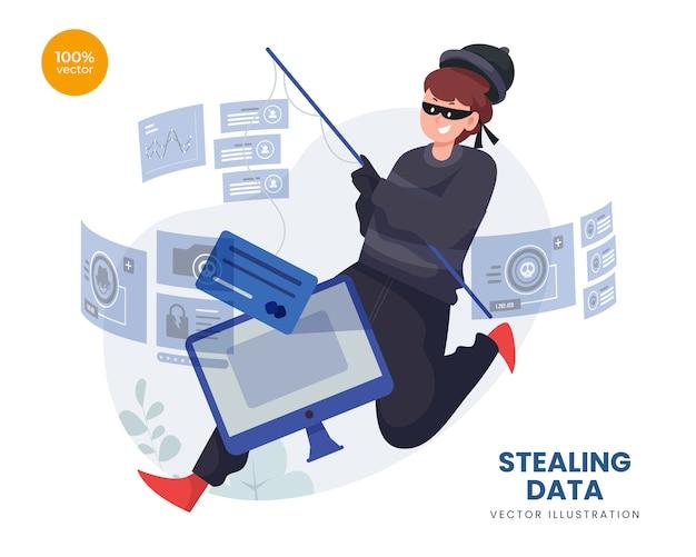 オンラインでハッカーがクレジットカードを振ってデータの概念を盗む