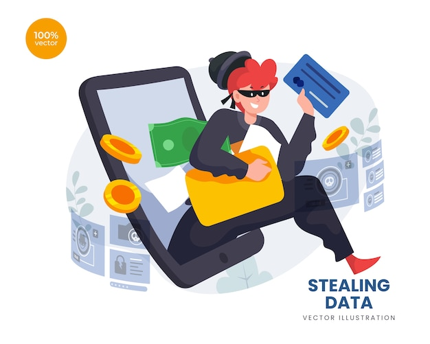 Stealing data phising with thief hacker steal folder information