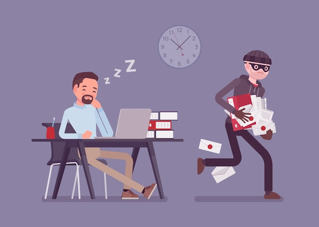 Stealing documents crime. sleeping businessman unaware of felonious corporate paper taking, masked thief commits confidential protected data robbery in office.   style cartoon illustration