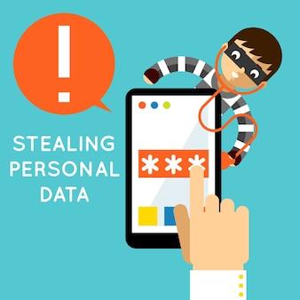 個人データを盗む。インターネット保護、ハッカー犯罪、安全性とパスワード、