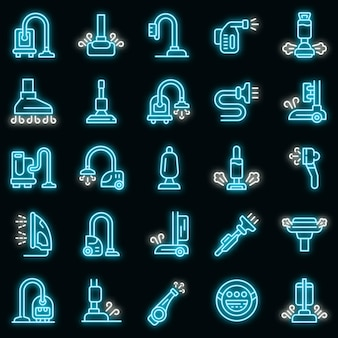 Steam cleaner icons set. outline set of steam cleaner vector icons neon color on black
