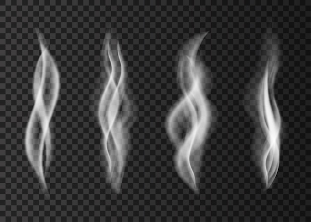 Steam  from a cup of coffee or tea smell  white cigarette smoke
