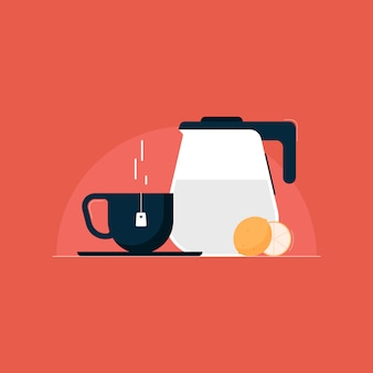 Steam lemon tea   illustration with teapot and cup, tea time concept