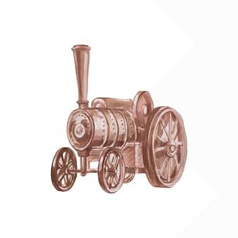 蒸気機関車自動車ヴィンテージ輸送水彩子供かわいい手描き