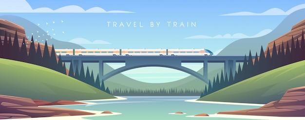 Паровоз, отдых, горный пейзаж, железная дорога, приключение. заход солнца. мост через реку.