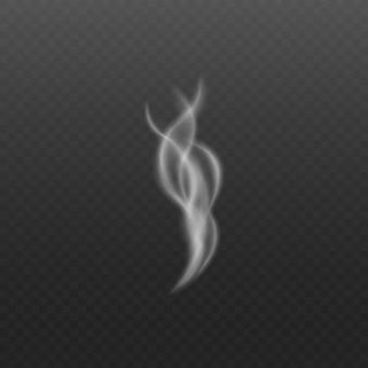 透明な上でリアルな渦巻き要素を蒸気または煙