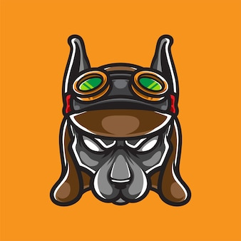 Логотип талисмана головы собаки steam punk