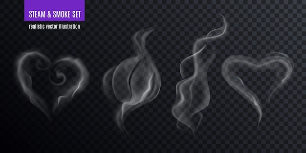 Steam smoke realistic set of four various vapour fume shapes on transparent