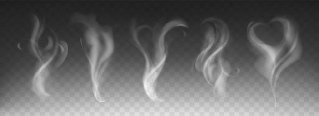 어두운 투명 배경에 심장과 소용돌이 모양으로 현실적인 증기 연기 세트. 뜨거운 음료, 커피, 담배, 차 또는 음식의 하얀 연기 파도. 흐름 안개 소용돌이의 모형. 안개 효과 개념입니다.
