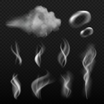 Steam and smoke. vape shapes hot kitchen smell realistic pictures
