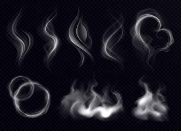 分離された暗い透明な背景にリングと渦巻き形状の現実的なセットホワイトとスチームの煙