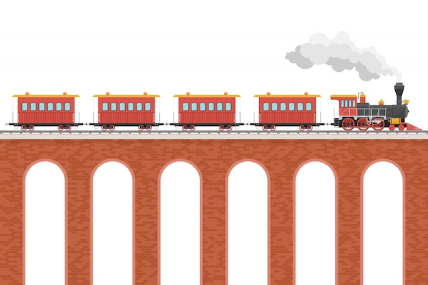 Паровоз с вагонами на мосту