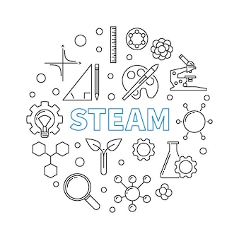 Steam vector concept round linear illustration
